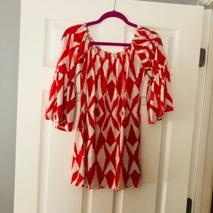 Red & white abstract diamond & striped mini dress